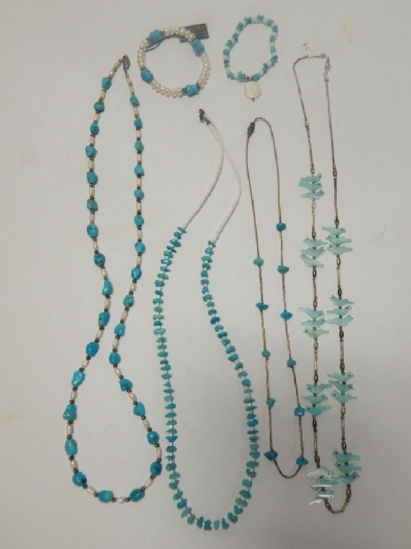 FOUR STERLING NECKLACES AND TWO BRACELETS