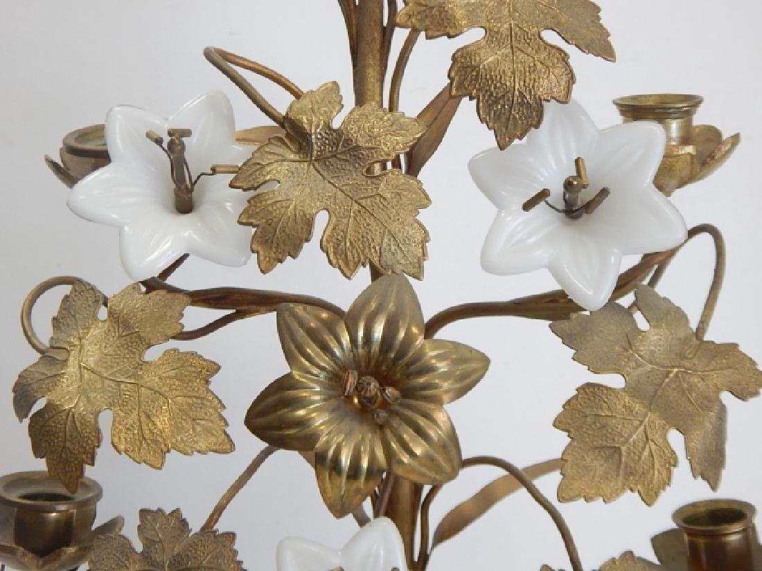BRASS AND PORCELAIN FLOWER CANDLEHOLDER - 3