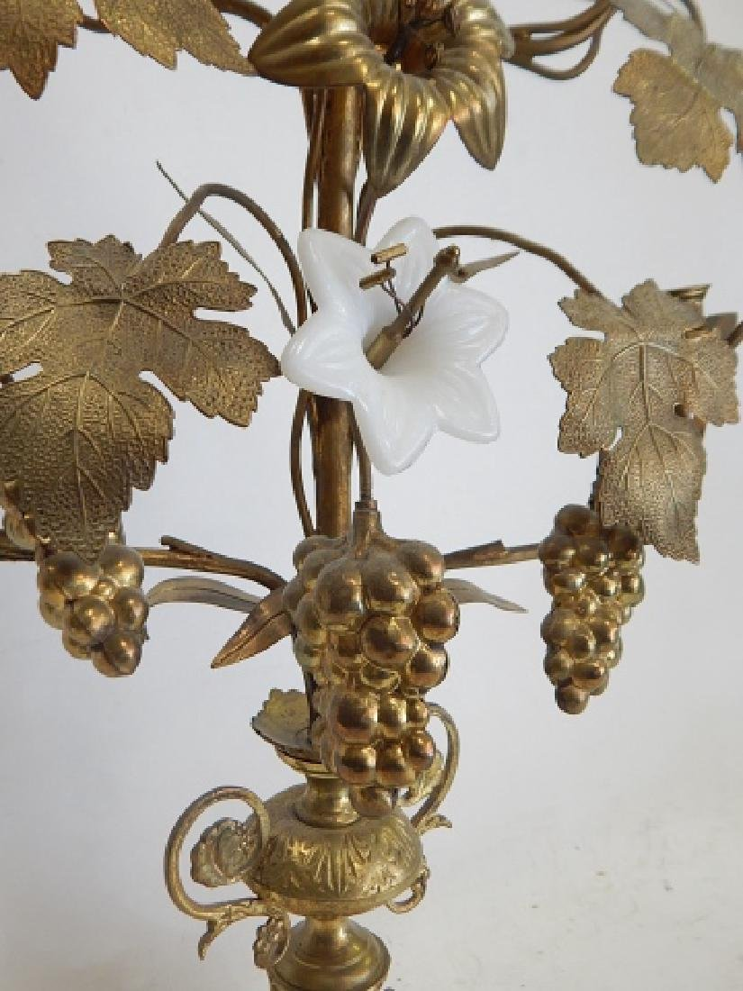 BRASS AND PORCELAIN FLOWER CANDLEHOLDER - 5