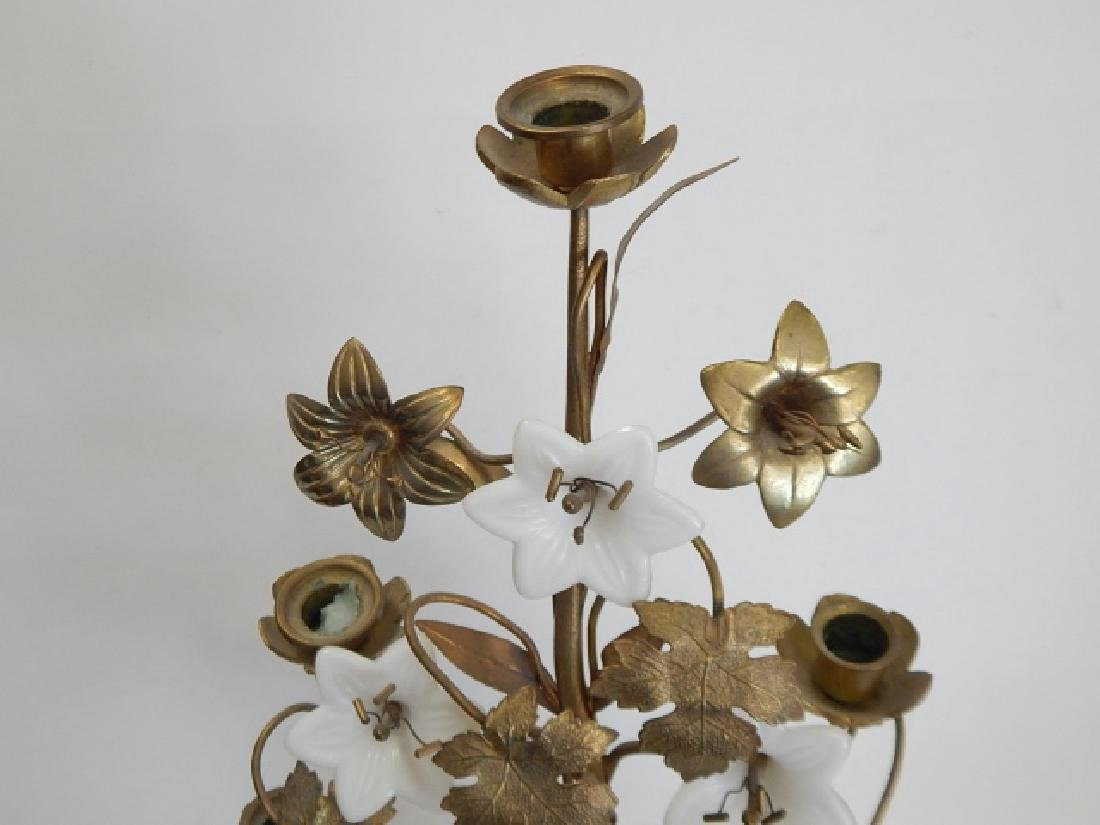 BRASS AND PORCELAIN FLOWER CANDLEHOLDER - 6