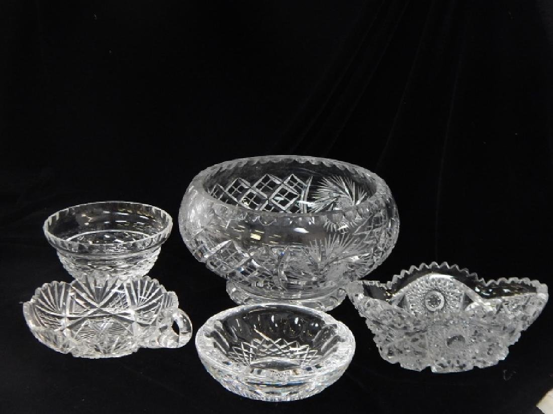 5 PIECE LOT OF CUT GLASS BOWLS AND ASH TRAY