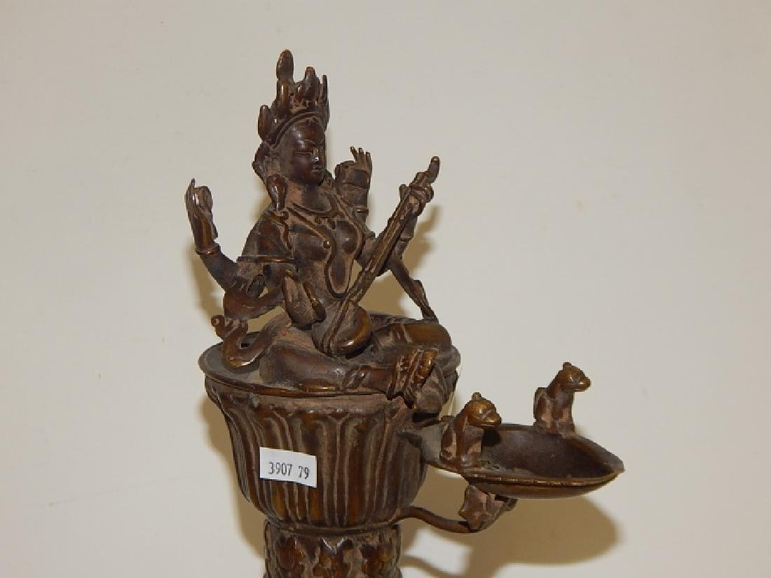 THAI BRONZE BUDDHA INCENSE BURNER - 5