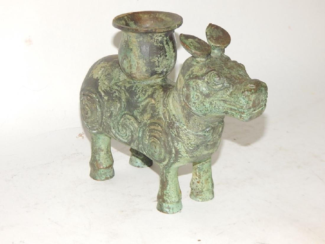 BRONZE ANIMAL FIGURE CANDLE STAND - 4
