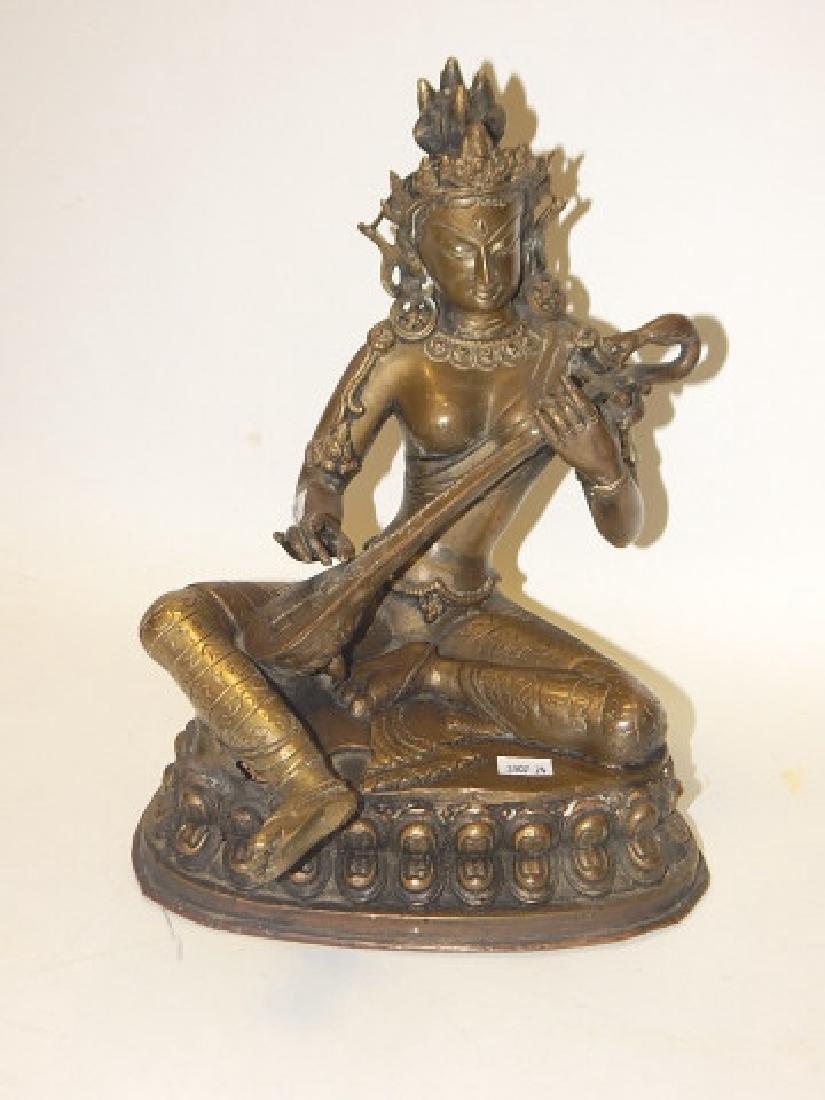 THAI BRONZE BUDDHA HOLDING MUSICAL INSTRUMENT