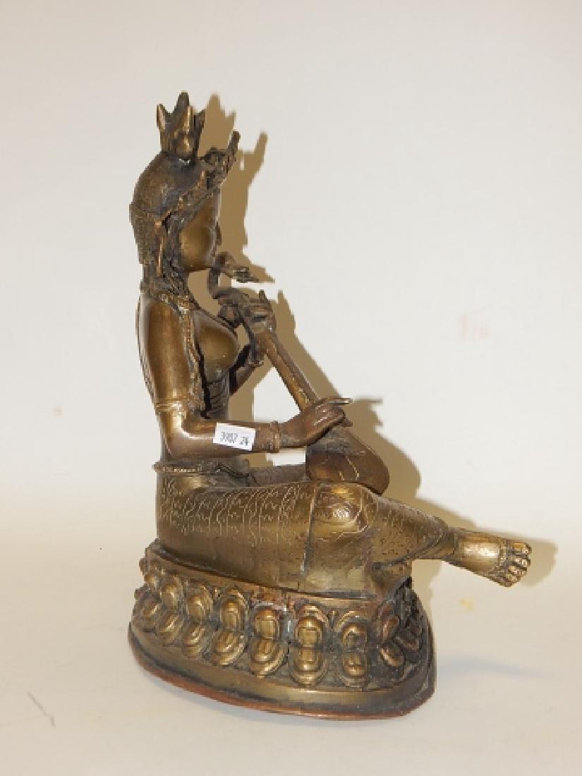 THAI BRONZE BUDDHA HOLDING MUSICAL INSTRUMENT - 6