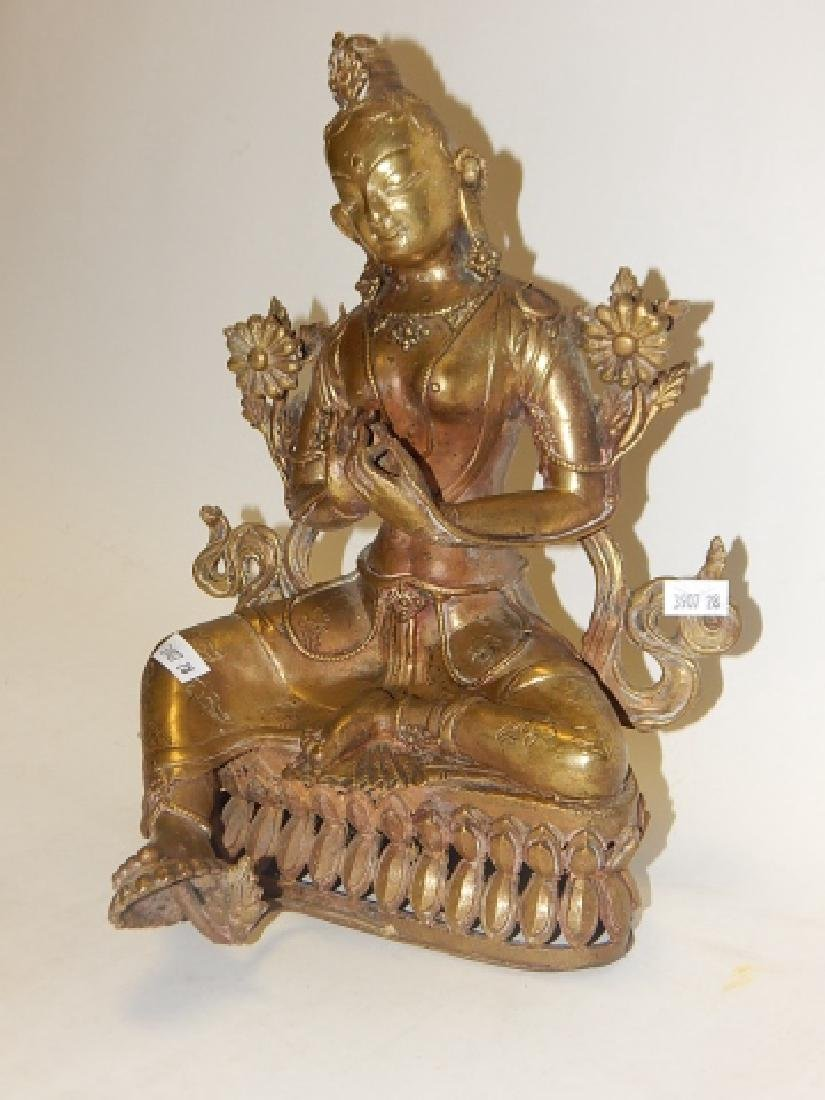 """GREEN TARA"" NEPALESE COPPER GILT BRONZE STATUE"