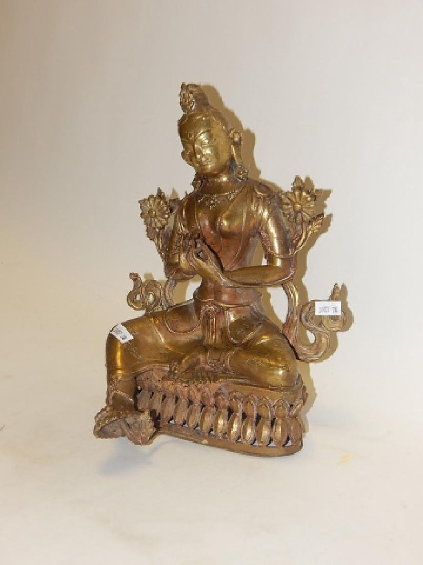 """GREEN TARA"" NEPALESE COPPER GILT BRONZE STATUE - 2"