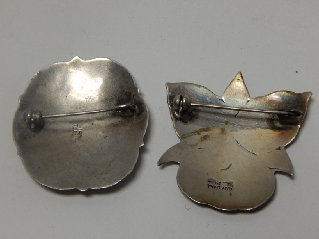 TWO SIAM STERLING SILVER PINS - 2