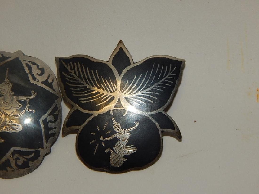TWO SIAM STERLING SILVER PINS - 4