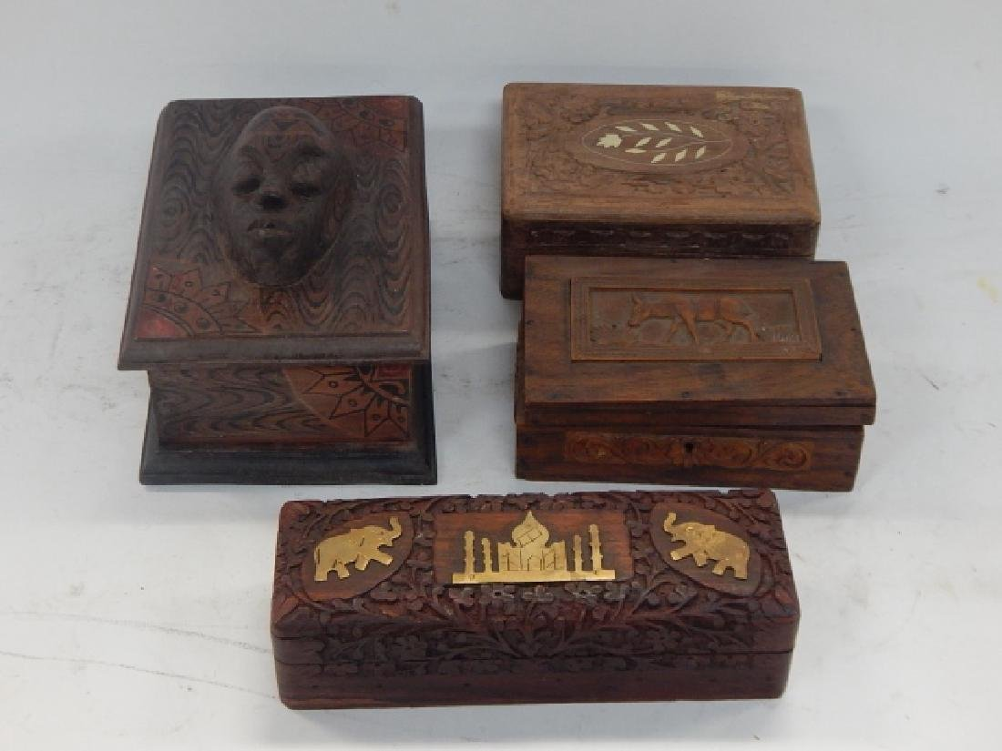 COLLECTION CARVED AND INLAID BOXES