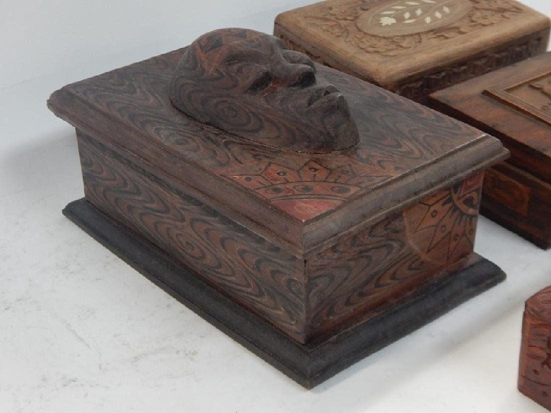 COLLECTION CARVED AND INLAID BOXES - 2
