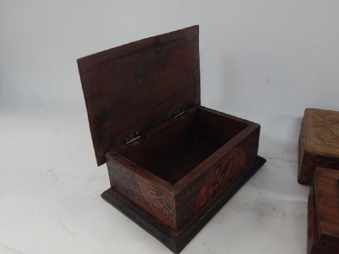 COLLECTION CARVED AND INLAID BOXES - 3