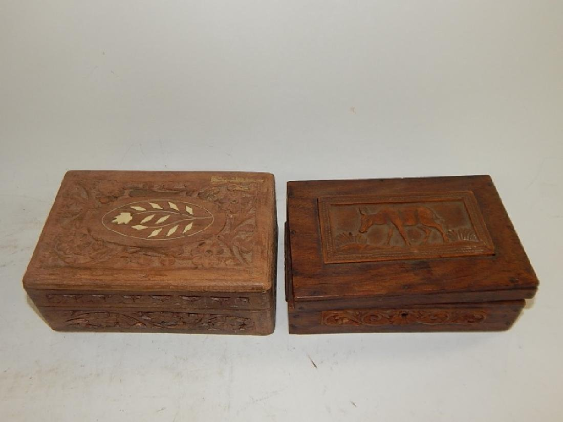 COLLECTION CARVED AND INLAID BOXES - 4