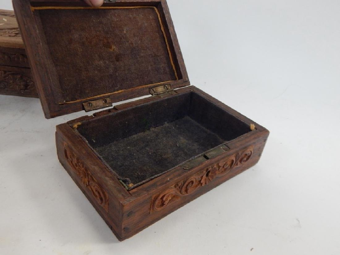 COLLECTION CARVED AND INLAID BOXES - 5