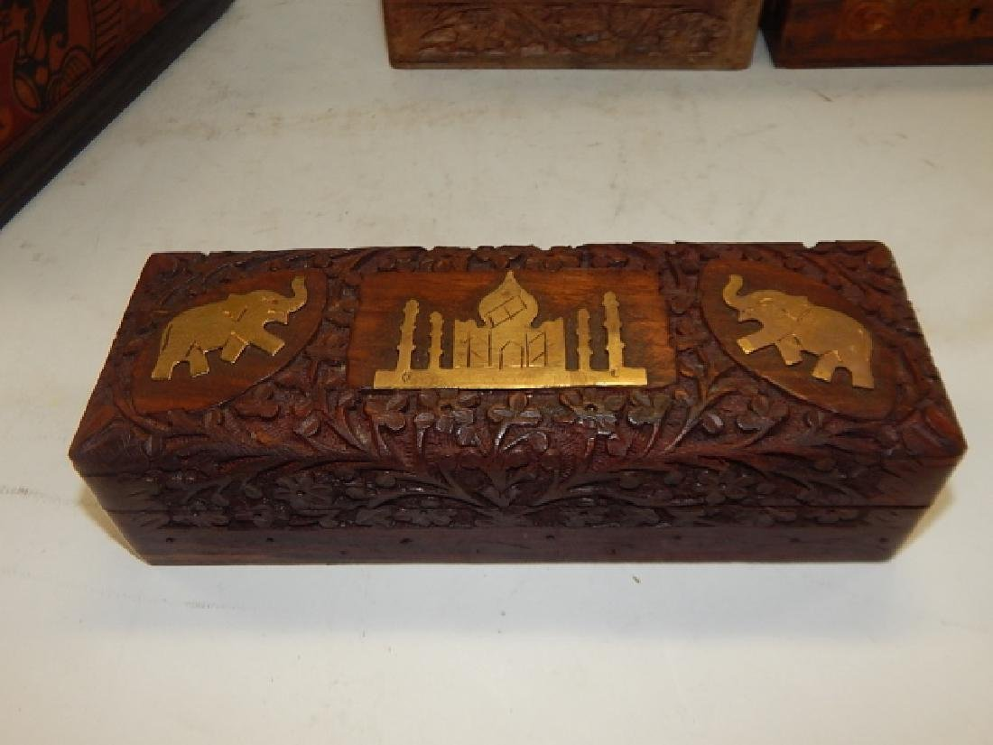 COLLECTION CARVED AND INLAID BOXES - 7