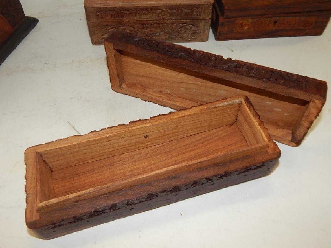 COLLECTION CARVED AND INLAID BOXES - 8