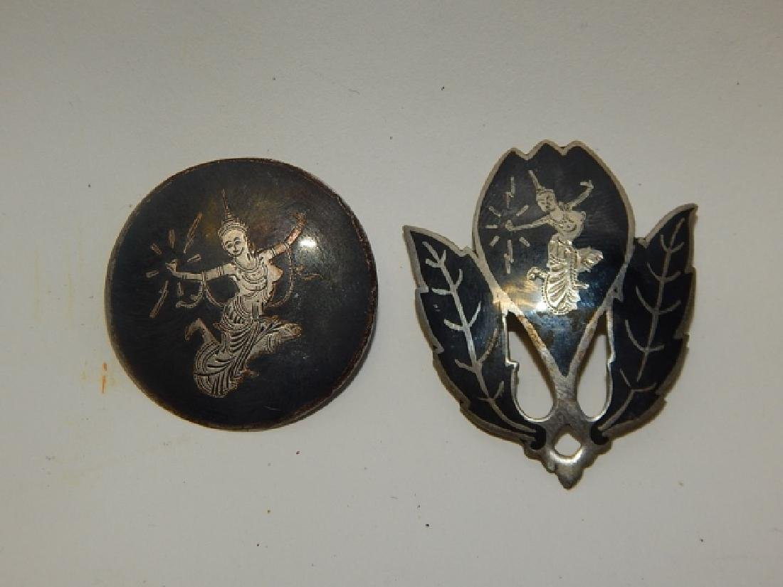 TWO SIAM STERLING SILVER PINS