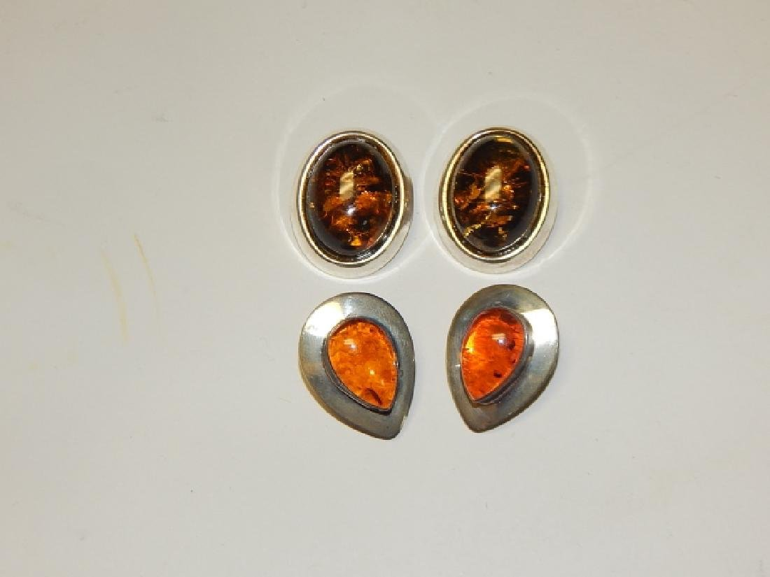 TWO PAIRS OF AMBER EARRINGS