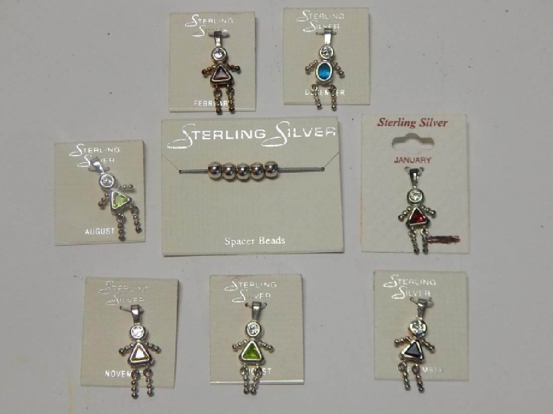 STERLING SILVER BIRTH STONE PENDANTS AND BEADS