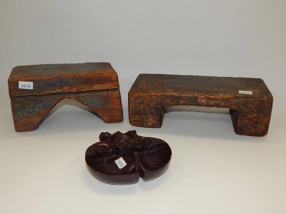TWO CHINESE PILLOWS AND WOODEN DISH