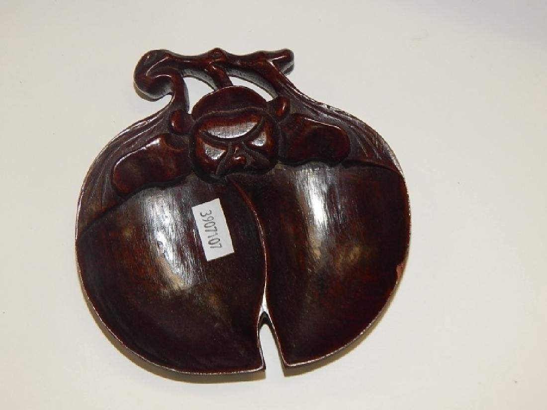 TWO CHINESE PILLOWS AND WOODEN DISH - 2