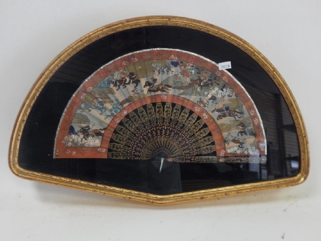 HAND PAINTED FAN IN FRAME