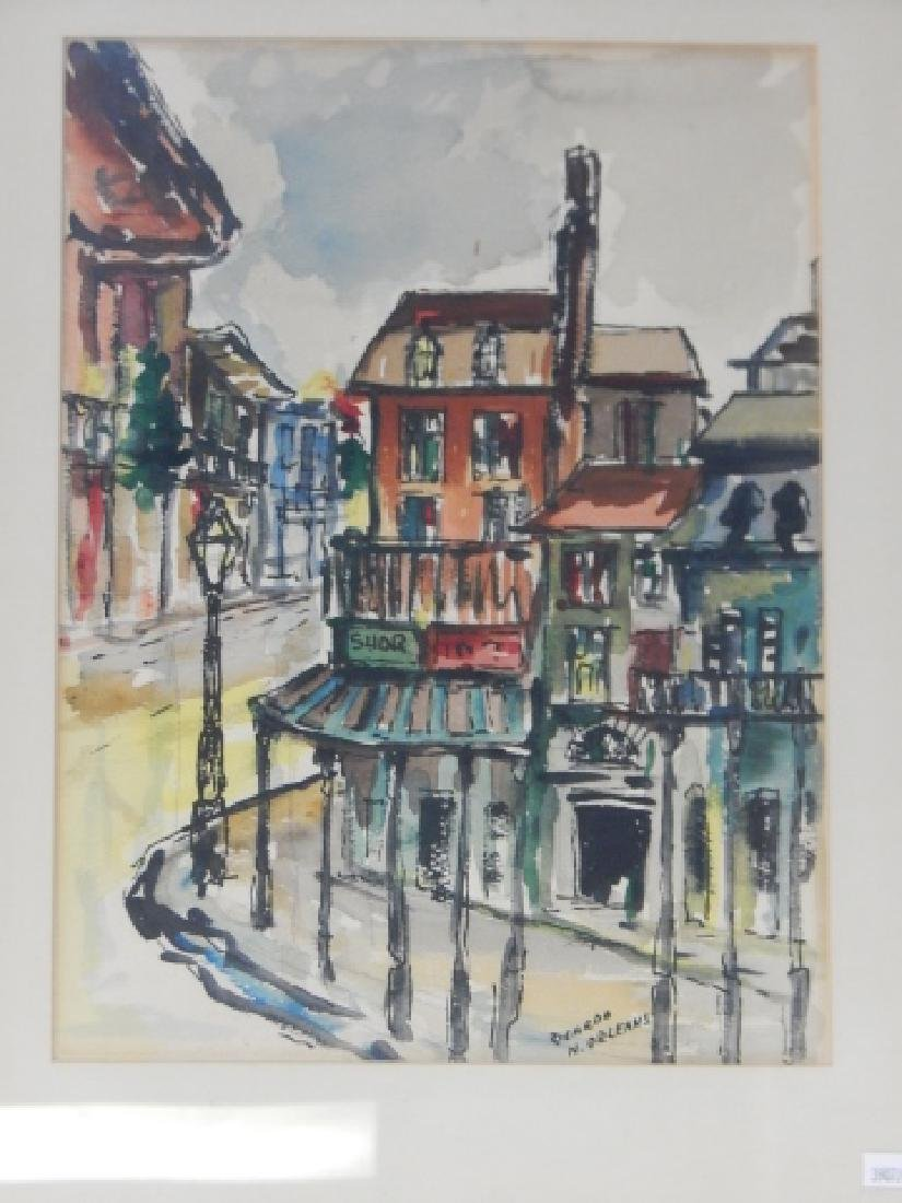 TWO NEW ORLEANS STREET SCENES WATERCOLORS - 3