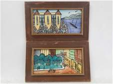 TWO HAND PAINTED CERAMIC TILES