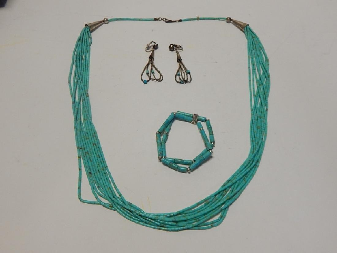 NECKLACE, EARRINGS, AND BRACELET