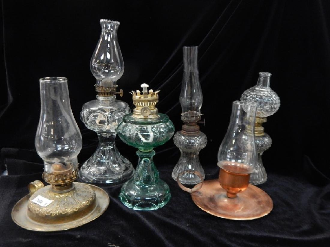 SIX MINATURE OIL LAMPS