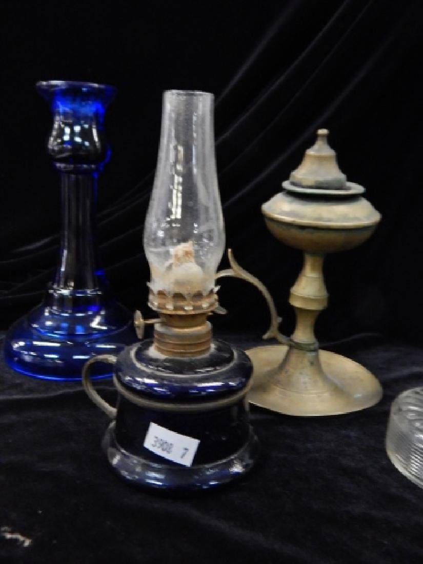 THREE OIL LAMPS WITH CANDLESTICKS - 4