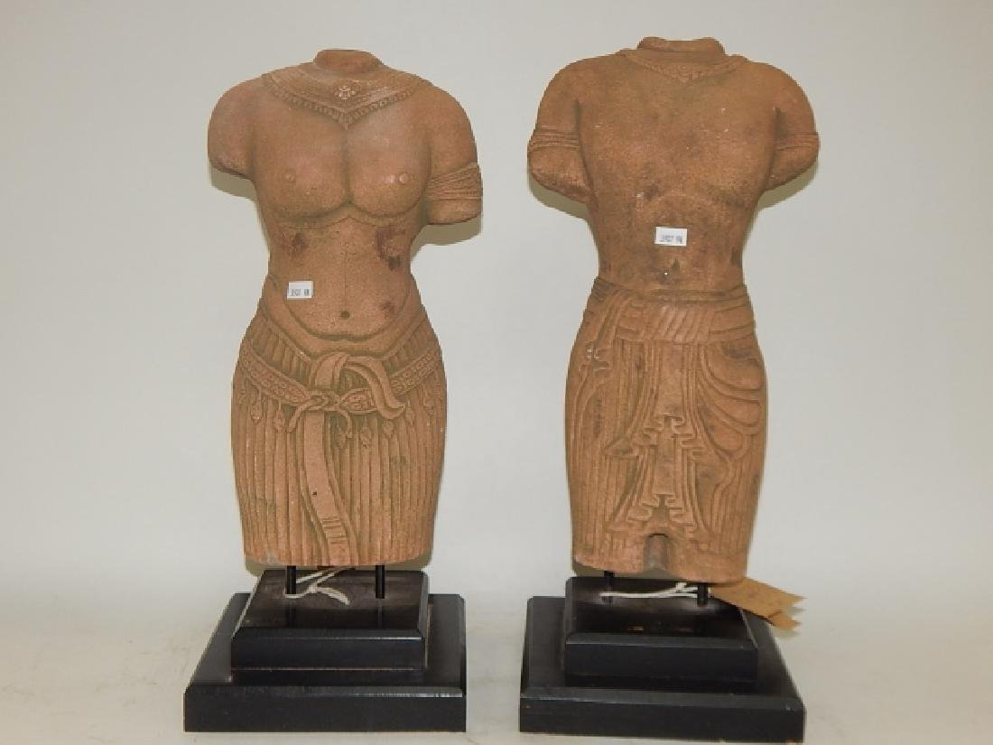 PAIR OF HAND MADE SANDSTONE BUSTS