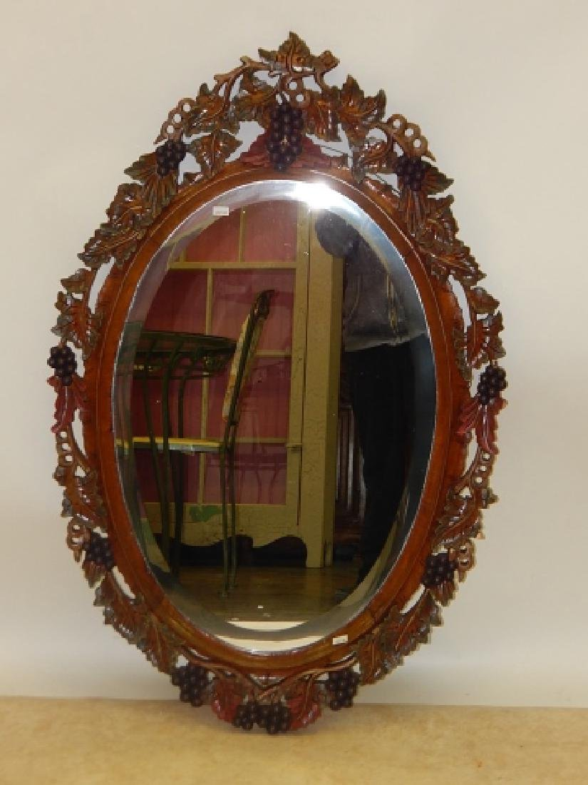 WOOD CARVED OVAL MIRROR