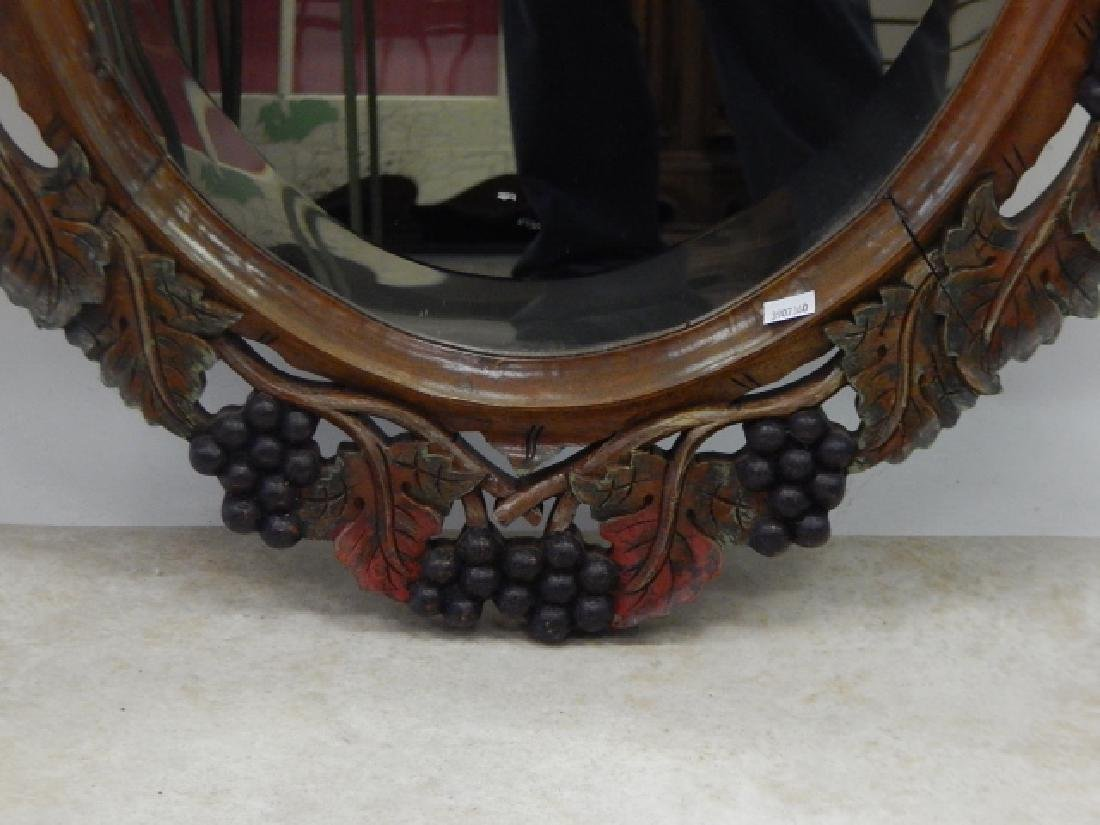 WOOD CARVED OVAL MIRROR - 3