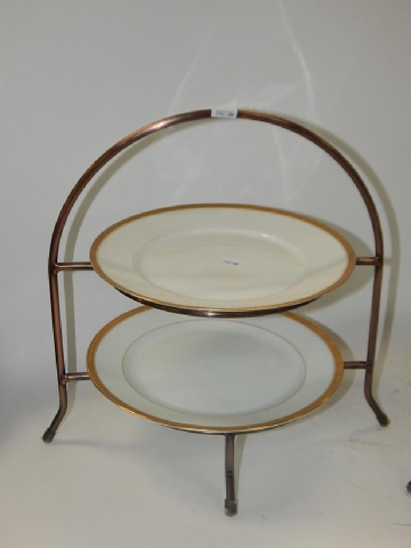 FOUR LIMOGES PLATES WITH METAL STANDS - 2