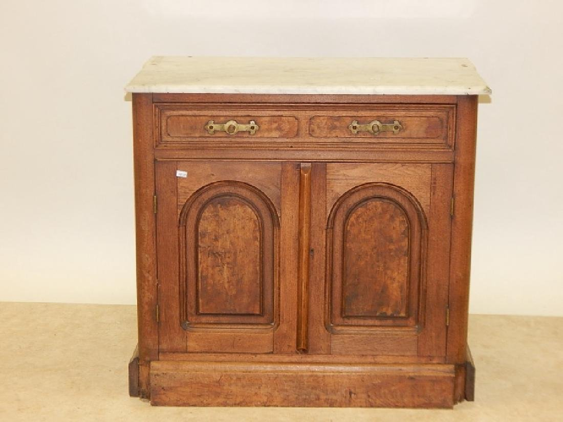 MARBLE TOP, BURLED WALNUT COMMODE