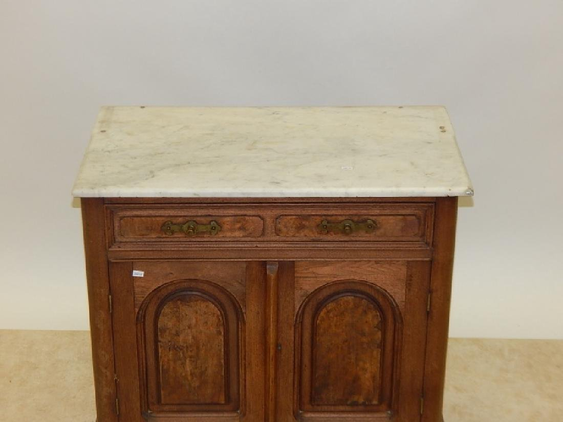 MARBLE TOP, BURLED WALNUT COMMODE - 2
