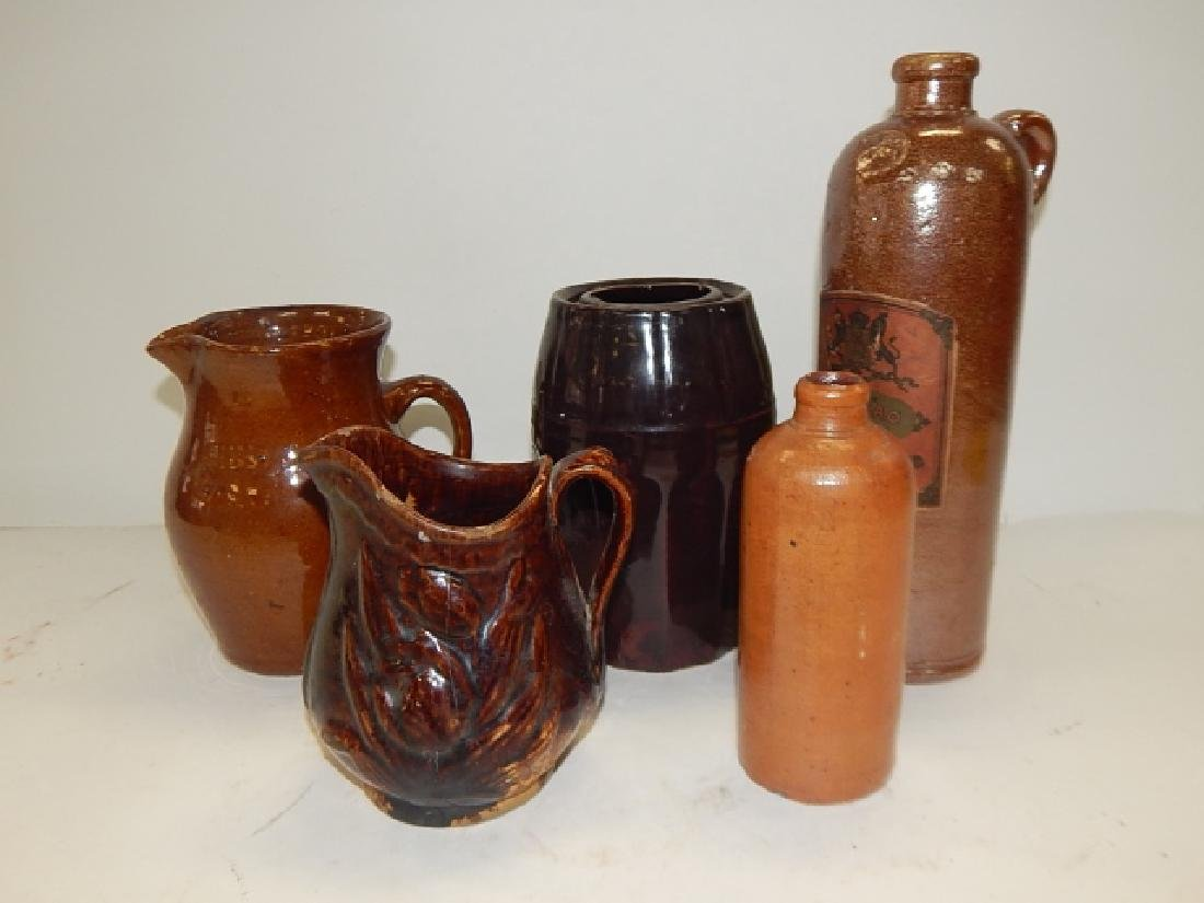FIVE PIECES OF STONEWARE