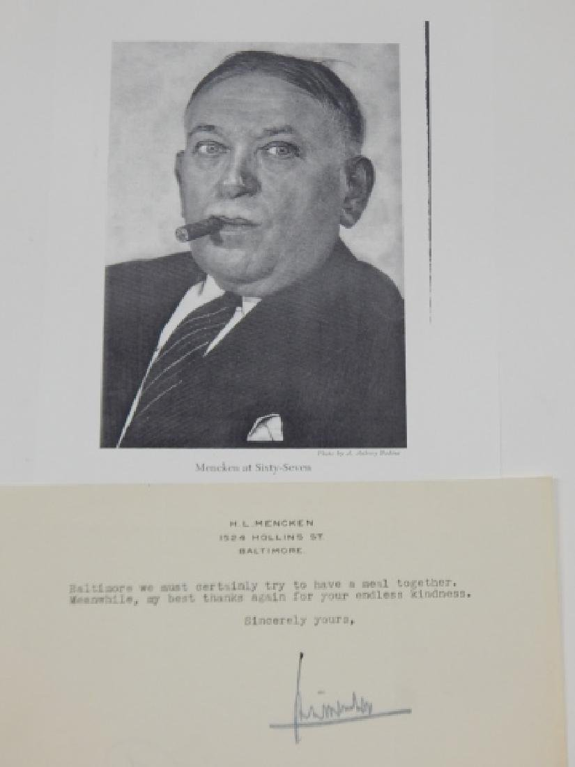 H.L. MENCKEN SIGNED LETTER WITH PHOTO