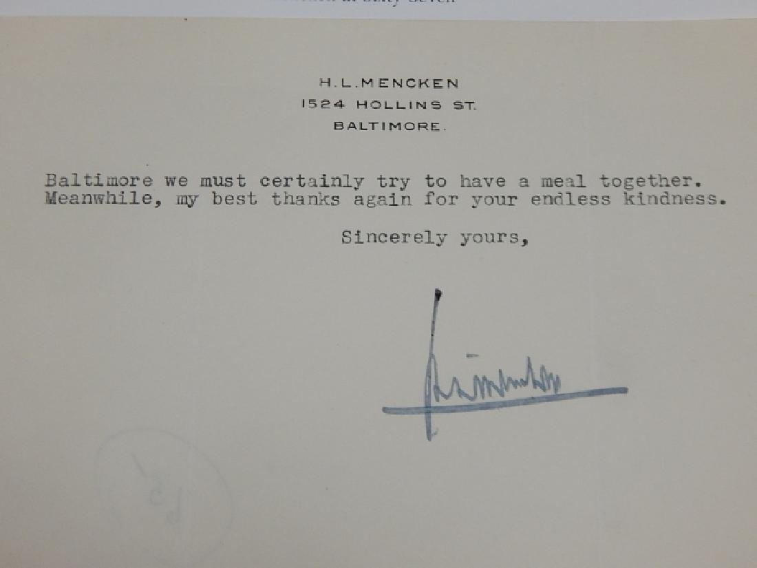 H.L. MENCKEN SIGNED LETTER WITH PHOTO - 4