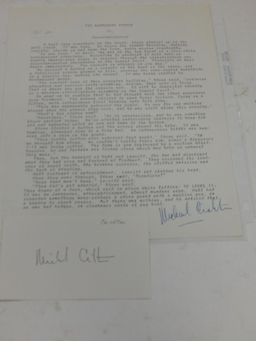 JOHN MICHAEL CRICHTON SIGNED LETTER AND AUTOGRAPH