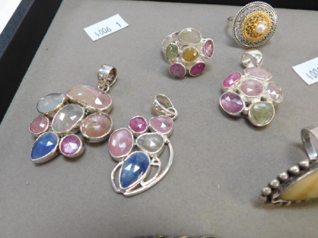 LOT OF STERLING SILVER AND AMBER JEWELRY - 2