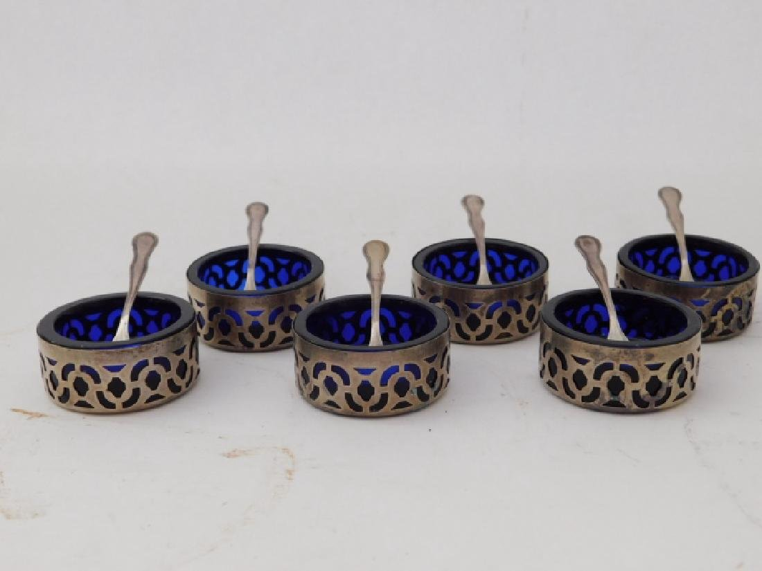 COBALT SALT DIPS WITH STERLING HOLDERS AND SPOONS