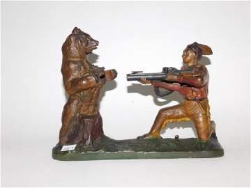J-E STEVENS CAST IRON INDIAN SHOOTING BEAR BANK