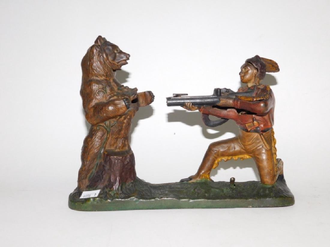 J-E STEVENS CAST IRON INDIAN SHOOTING BEAR BANK