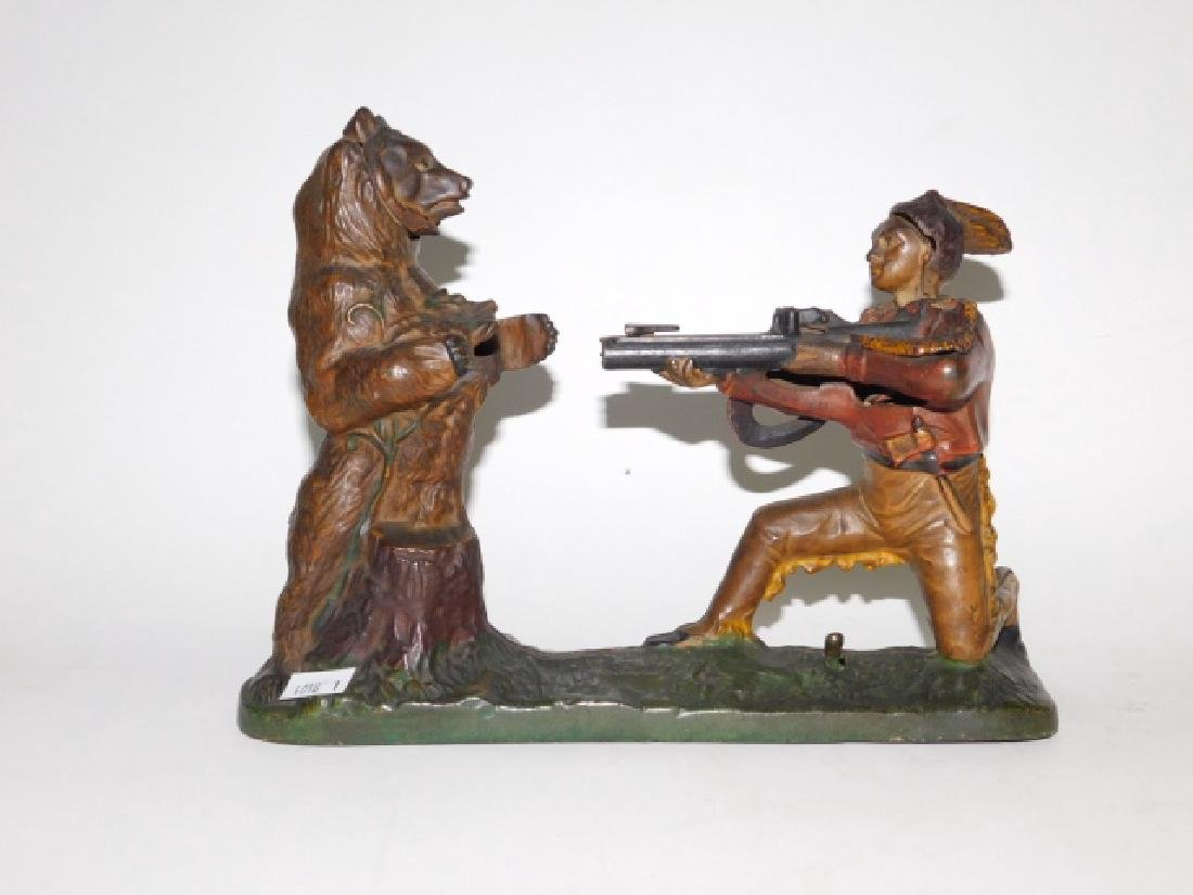 J-E STEVENS CAST IRON INDIAN SHOOTING BEAR BANK - 2