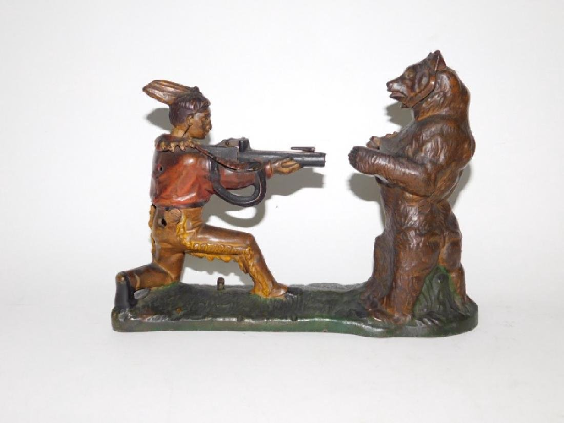 J-E STEVENS CAST IRON INDIAN SHOOTING BEAR BANK - 3