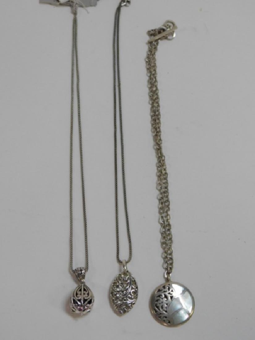 THREE STERLING SILVER NECKLACES - 2