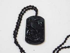 CARVED ONYX PENDANT AND NECKLACE