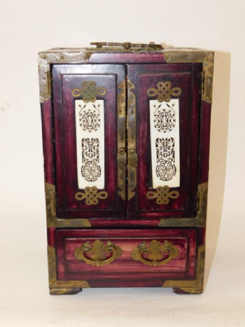 CHINESE JEWELRY BOX WITH BRASS AND BONE CARVINGS